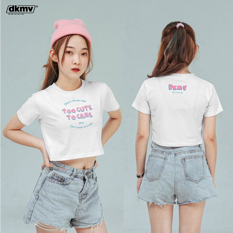 DKMV CROPTOP TOO CUTE TO CARE - WHITE