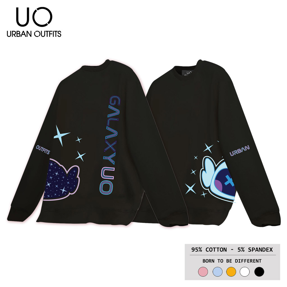 Áo Sweater Nữ Nam Form Rộng URBAN OUTFITS In Galaxy UO Bot Universe SWO38 Cotton Nỉ