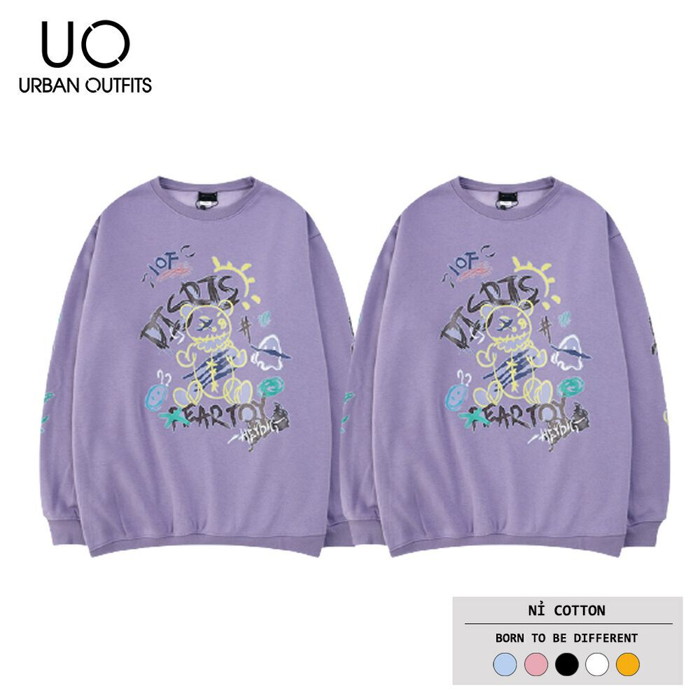 Áo Sweater Nữ Nam Form Rộng URBAN OUTFITS In DISRIS FEAR TOY SWO04 Cotton Nỉ