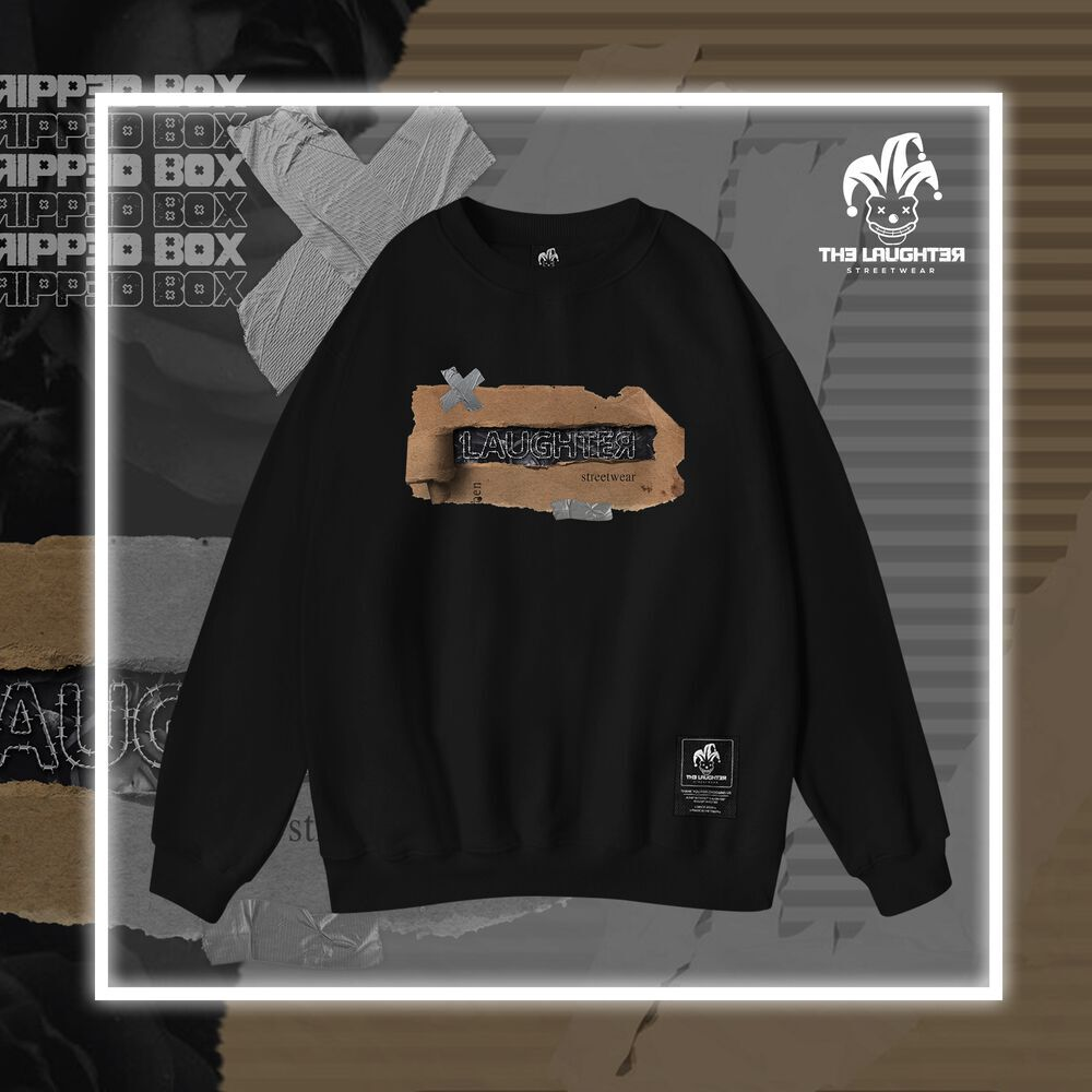 The Laughter -  Ripped Box Sweater Black