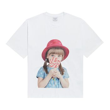 ADLV BABY FACE SHORT SLEEVE WHITE RED HAT T-SHIRT