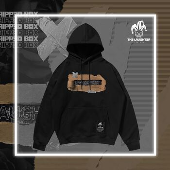 The Laughter -  Ripped Box Hoodie Black