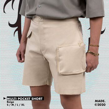 MULTI POCKET SHORT IN BEIGE