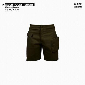 MULTI POCKET SHORT IN MOSSY GREEN