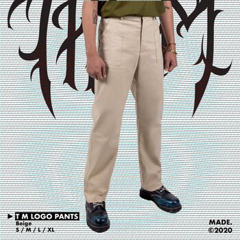 T/M LOGO PANTS IN BEIGE